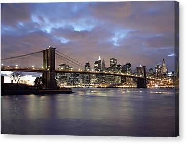 Brooklyn Bridge And Lower Manhattan Canvas Print by Axiom Photographic