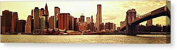 Brooklyn Bridge And New York City Skyline Panorama Canvas Print by Vivienne Gucwa