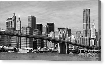 Brooklyn Bridge And Skyline Canvas Print by Holger Ostwald