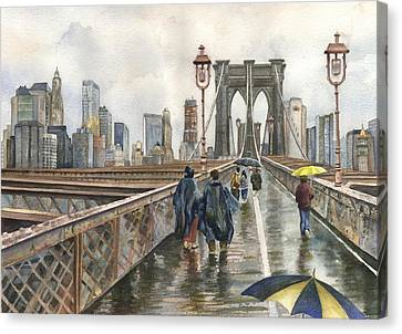 Brooklyn Bridge Canvas Print by Anne Gifford