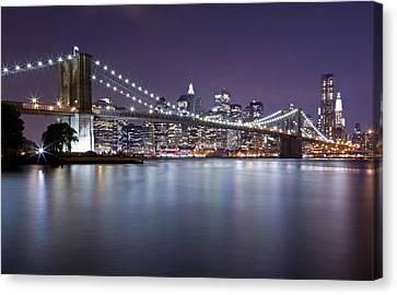 Brooklyn Bridge At Night 3 Canvas Print
