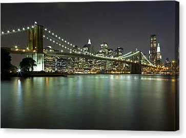 Brooklyn Bridge At Night 4 Canvas Print