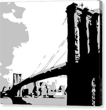 Brooklyn Bridge Bw Canvas Print by Scott Kelley