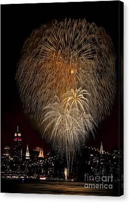 Brooklyn Bridge Celebrates Canvas Print by Susan Candelario
