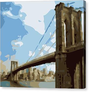 Brooklyn Bridge Color 16 Canvas Print by Scott Kelley
