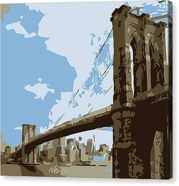 Brooklyn Bridge Color 6 Canvas Print by Scott Kelley