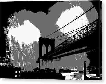 Brooklyn Bridge Fireworks Bw3 Canvas Print by Scott Kelley