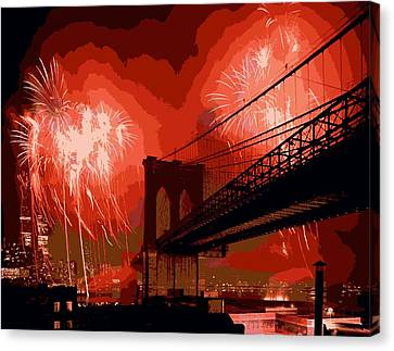Brooklyn Bridge Fireworks Color 16 Canvas Print by Scott Kelley
