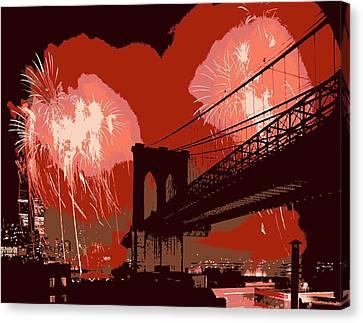 Brooklyn Bridge Fireworks Color 6 Canvas Print by Scott Kelley
