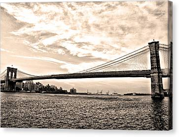 Brooklyn Bridge In Sepia Canvas Print by Bill Cannon