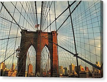 Brooklyn Bridge On A Sunset Canvas Print by Alex AG