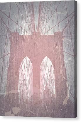 Brooklyn Bridge Red Canvas Print