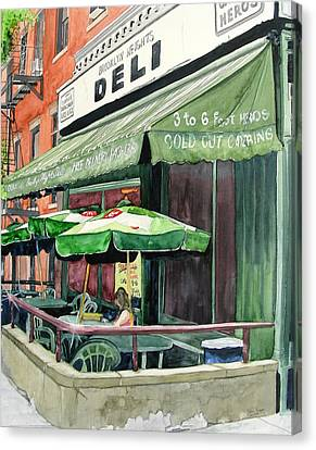 Canvas Print featuring the painting Brooklyn Heights Deli by Tom Riggs