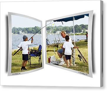 Brothers Fishing - Oof Canvas Print by Brian Wallace