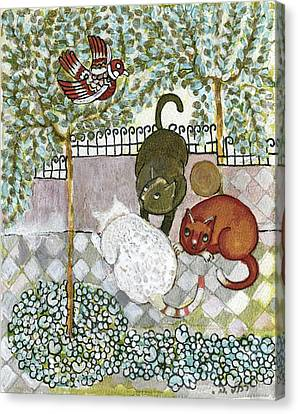 Brown And White Alley Cats Consider Catching A Bird In The Green Garden Canvas Print by Rachel Hershkovitz