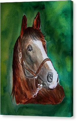 Canvas Print featuring the painting Brown Beauty by Alethea McKee