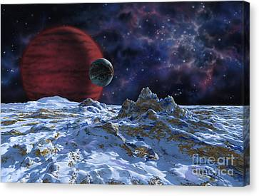 Brown Dwarf With Planet And Moon Canvas Print by Lynette Cook