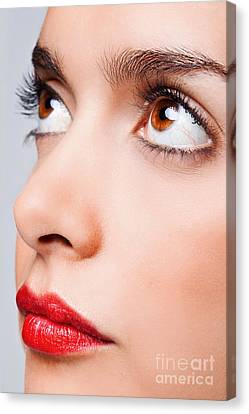 Brown Eyes And Red Lips Canvas Print by Richard Thomas
