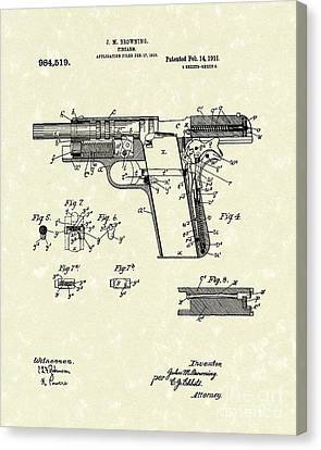 Browning Handgun 1911 Patent Art Canvas Print by Prior Art Design