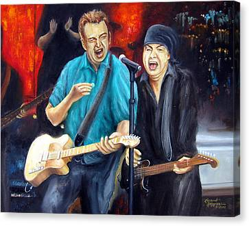 Bruce And Steven At The Apollo Canvas Print by Leonardo Ruggieri
