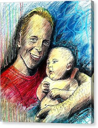 Bruce Willis Oil Pastel Portrait Canvas Print by Rom Galicia