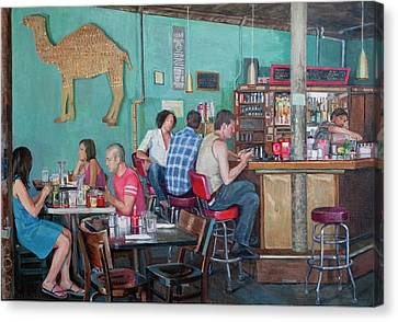 Brunch At Enid's Canvas Print by Elinore Schnurr