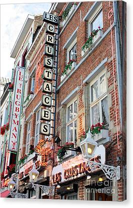 Brussels - Place Sainte Catherine Restaurants Canvas Print by Carol Groenen