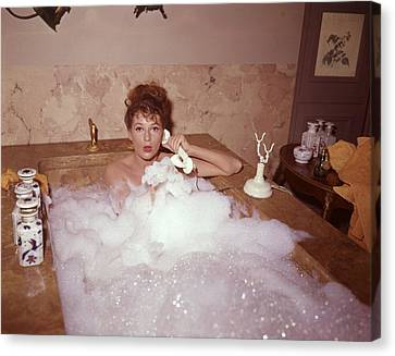 Domestic Bathroom Canvas Print - Bubble Bath by Fox Photos