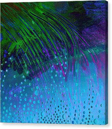 Bubbles Blue And  Green  Canvas Print by Ann Powell