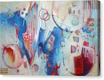 Bubbling Up - Abstract In Blues Canvas Print by Susanne Clark