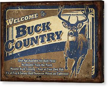 Buck Country Sign Canvas Print by JQ Licensing
