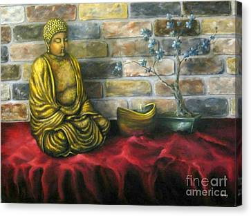 Buddha And Candle Canvas Print