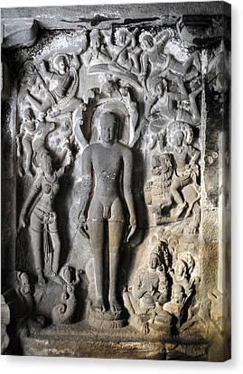 Ancient Canvas Print - Buddha At Elora Caves India by Sumit Mehndiratta