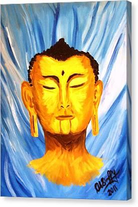 Buddha On Blue Canvas Print by Deborah Duffy