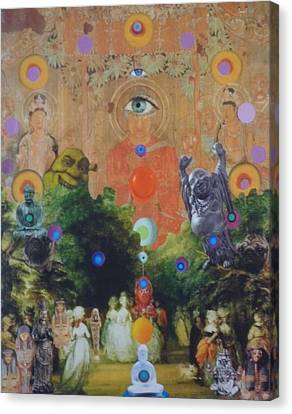 Canvas Print featuring the mixed media Buddha's Garden Party by Douglas Fromm
