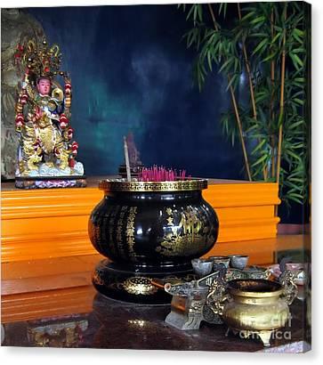 Burned Clay Canvas Print - Buddhist Altar by Yali Shi