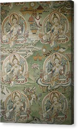 Buddhist Painting Inside The Jokhang Canvas Print by Gordon Wiltsie