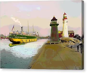 Buffalo Harbor Lighthouse Canvas Print by Charles Shoup