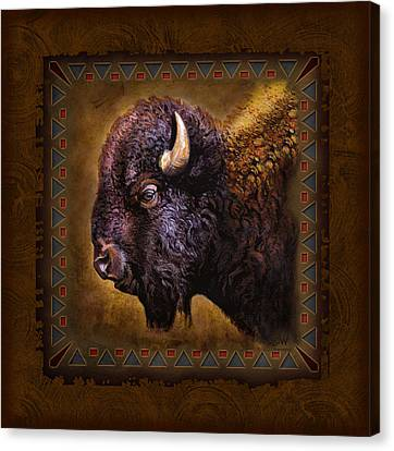 Buffalo Lodge Canvas Print by JQ Licensing