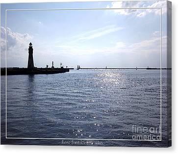 Buffalo Main Lighthouse And Buffalo Harbor Canvas Print by Rose Santuci-Sofranko