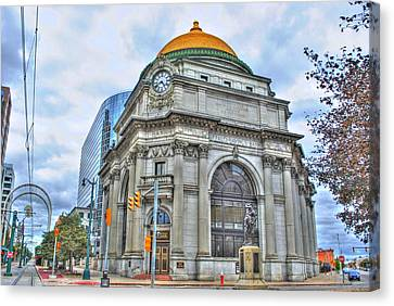 Canvas Print featuring the photograph Buffalo Savings Bank  Goldome  M And T Bank Branch by Michael Frank Jr