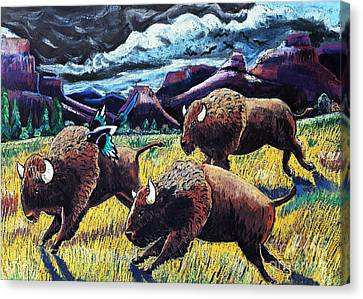Buffaloes Race The Storm Canvas Print by Harriet Peck Taylor