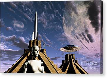 Builders Of The Mayan Pyramids Visit Canvas Print by Mark Stevenson