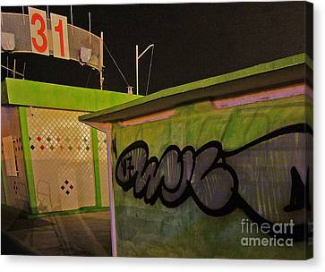 Canvas Print featuring the photograph Building 31 Rimini Beach Graffiti by Andy Prendy