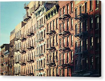 Fire Escape Canvas Print - Building Fire Escape Stairs And Windows by Niccirf