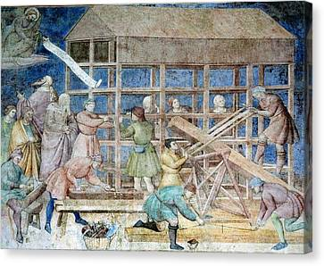 Building Noah's Ark, 14th Century Fresco Canvas Print by Sheila Terry