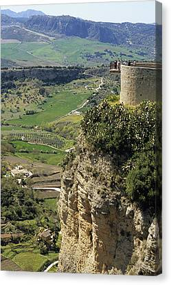 Building On Outcrop With Countryside Beyond, Ronda, Andalucia, Spain, Europe Canvas Print by Roberto Gerometta