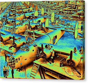 Building The B24 Fleet 1943 Canvas Print by Padre Art