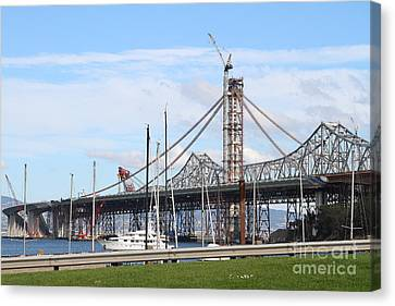 Building The New San Francisco Oakland Bay Bridge 7d7775 Canvas Print by Wingsdomain Art and Photography