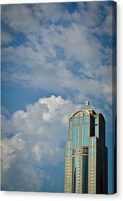 Canvas Print featuring the photograph Building With Its Head In The Clouds by Ronda Broatch